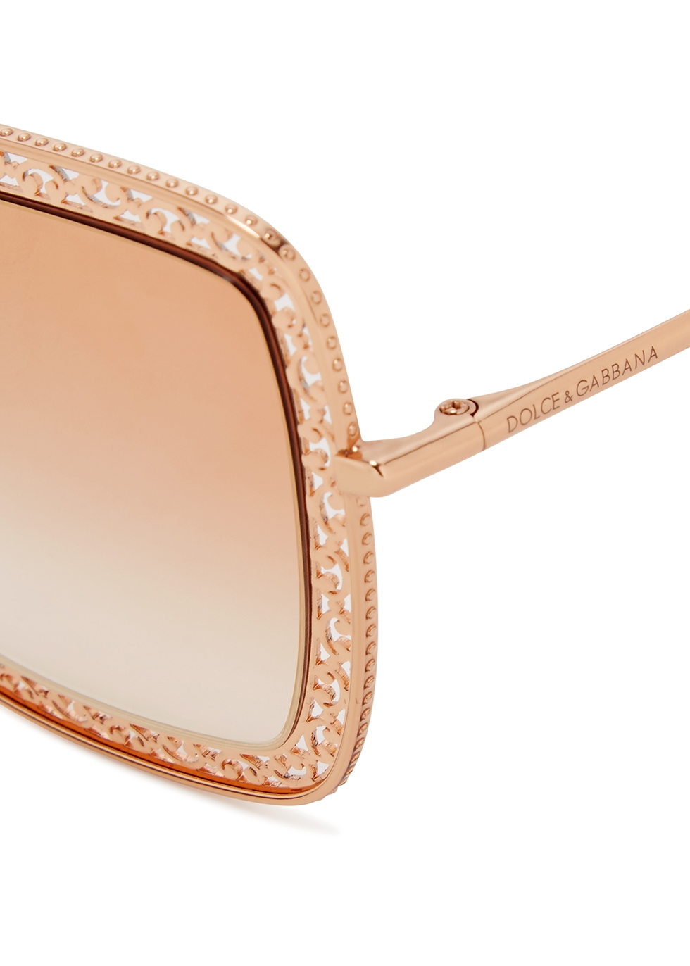 Rose-gold tone oversized sunglasses - Dolce & Gabbana