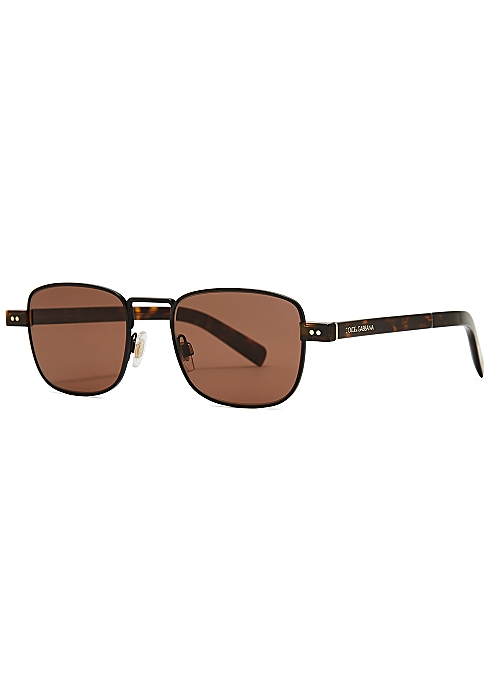 33c4b78a1e82 Dolce & Gabbana Gunmetal metal rectangle frame sunglasses - Harvey ...