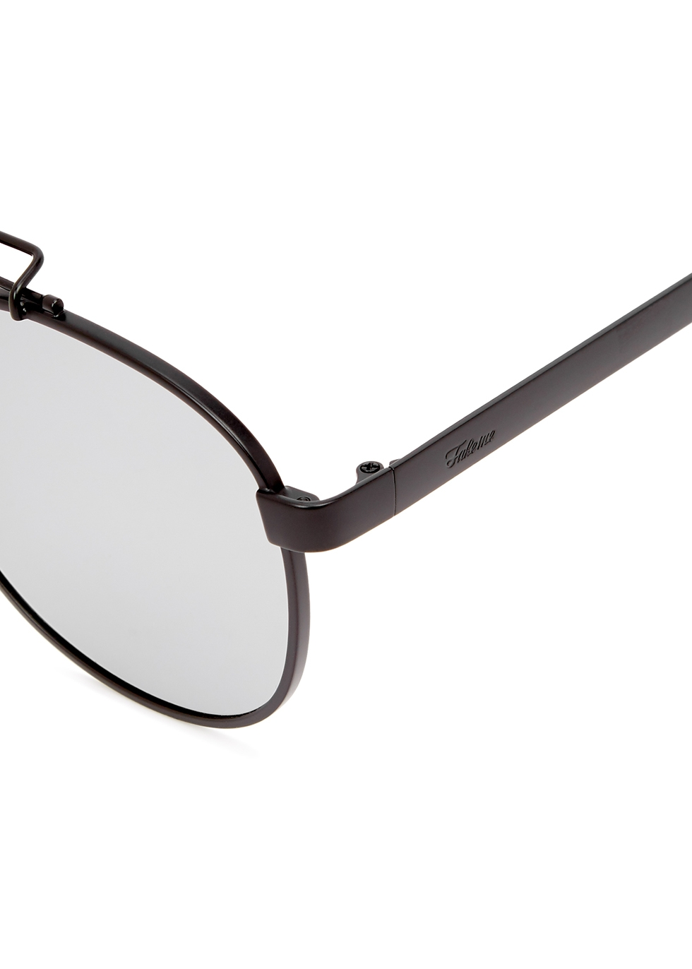 Ozzy black mirrored oval-frame sunglasses - FAKE ME