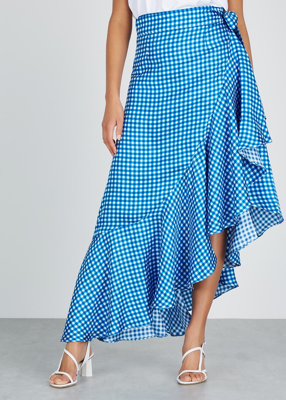Lagos gingham silk midi skirt - PAPER LONDON