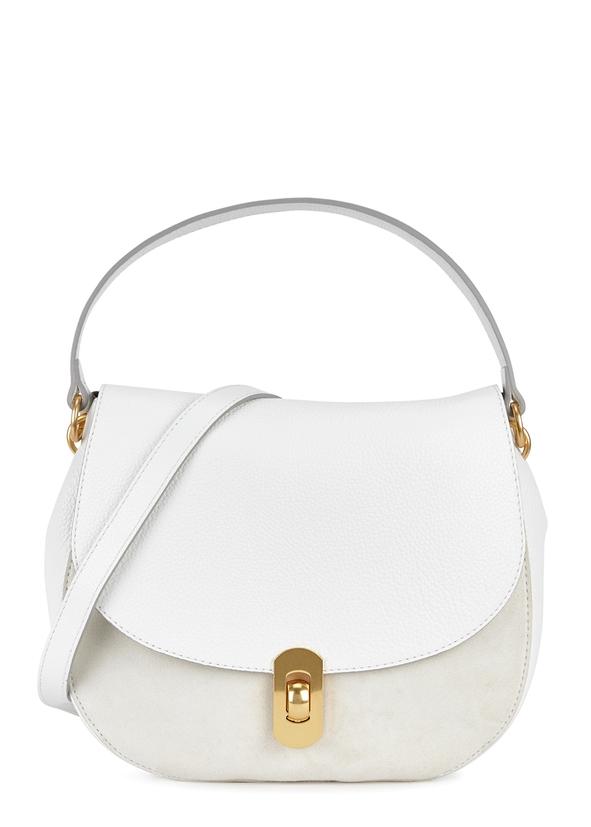 Zaniah white leather shoulder bag ...