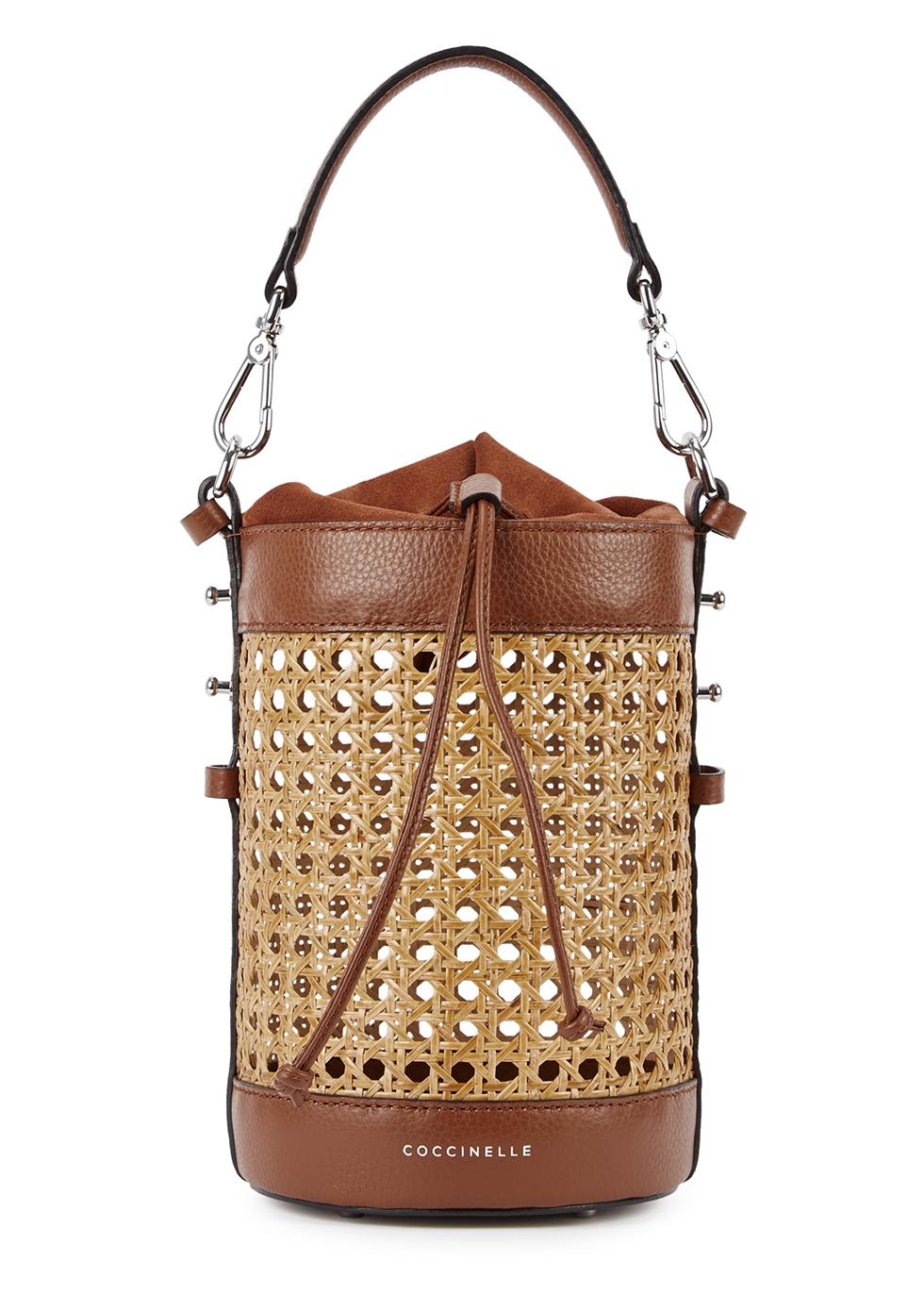 4826502d0f COCCINELLE Beta Vienna brown straw top handle bag - Harvey Nichols