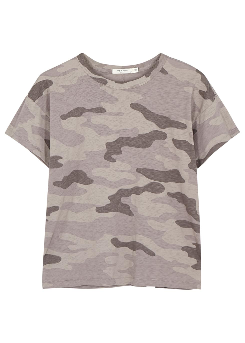 Mauve camouflage-print cotton T-shirt - rag & bone /JEAN