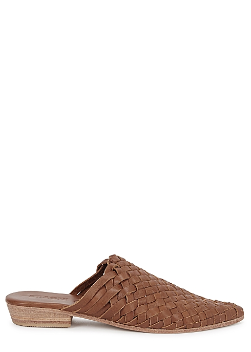 6ede86568 St. Agni Paris 25 brown woven leather mules - Harvey Nichols