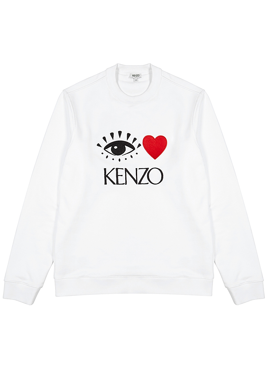 f55512d46 White embroidered cotton sweatshirt White embroidered cotton sweatshirt.  Kenzo