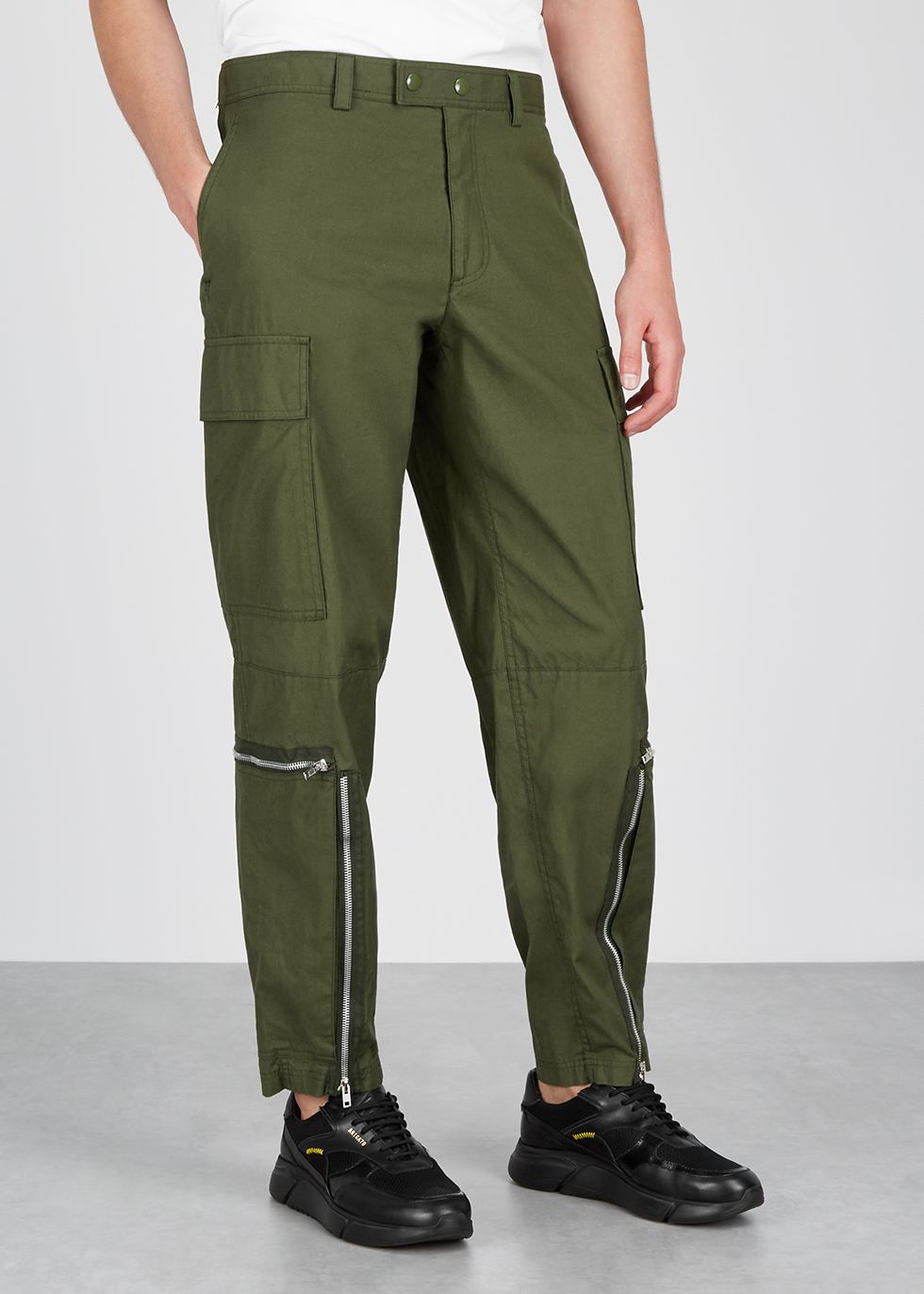Army green cotton cargo trousers - Helmut Lang