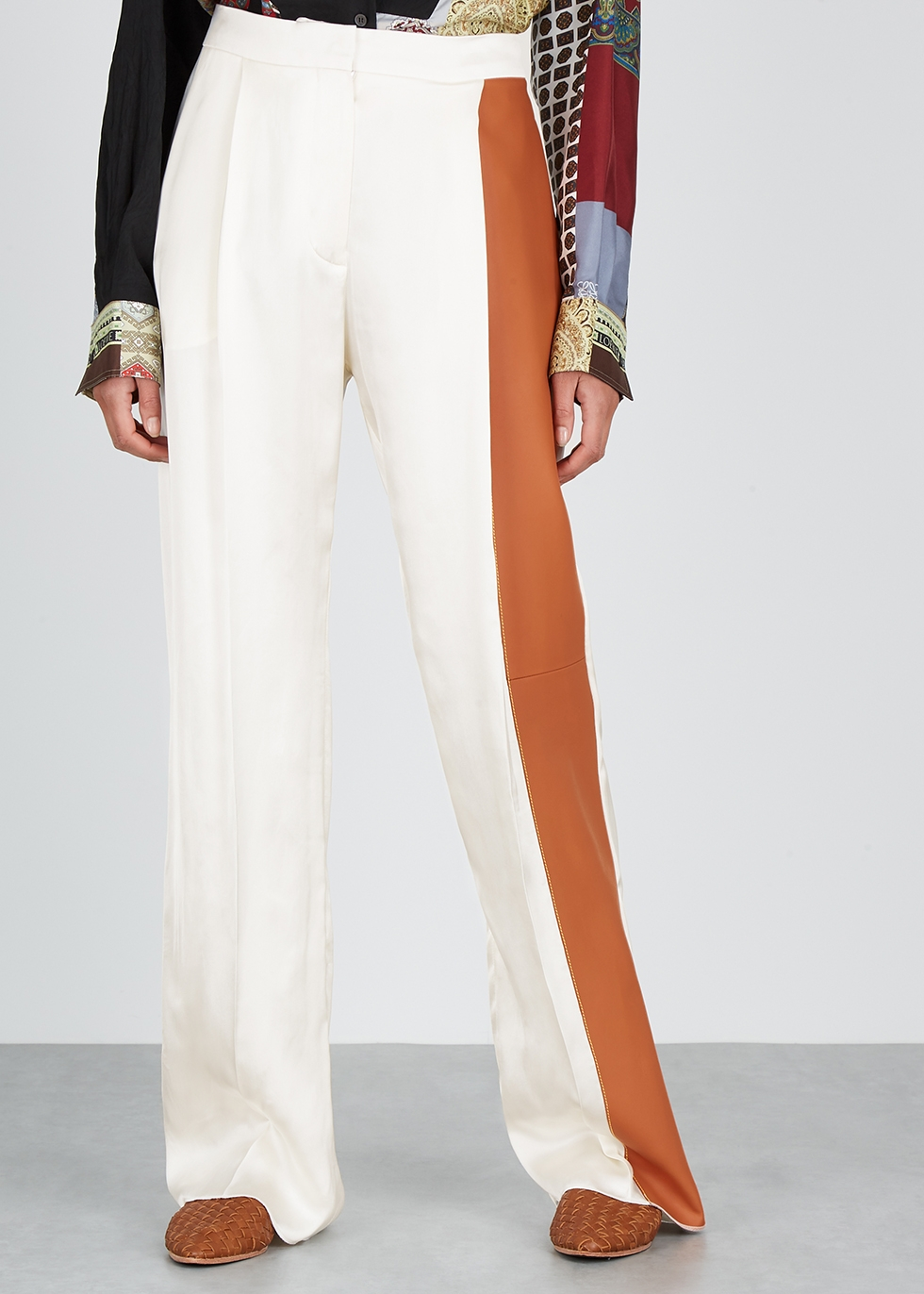 Ivory satin and leather trousers - Loewe