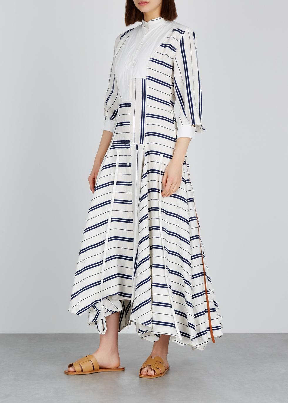 Striped linen-blend shirt dress - Loewe