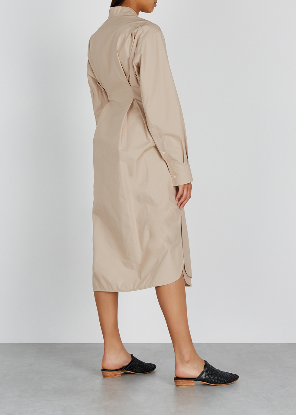 Camel asymmetric poplin midi shirt dress - Loewe