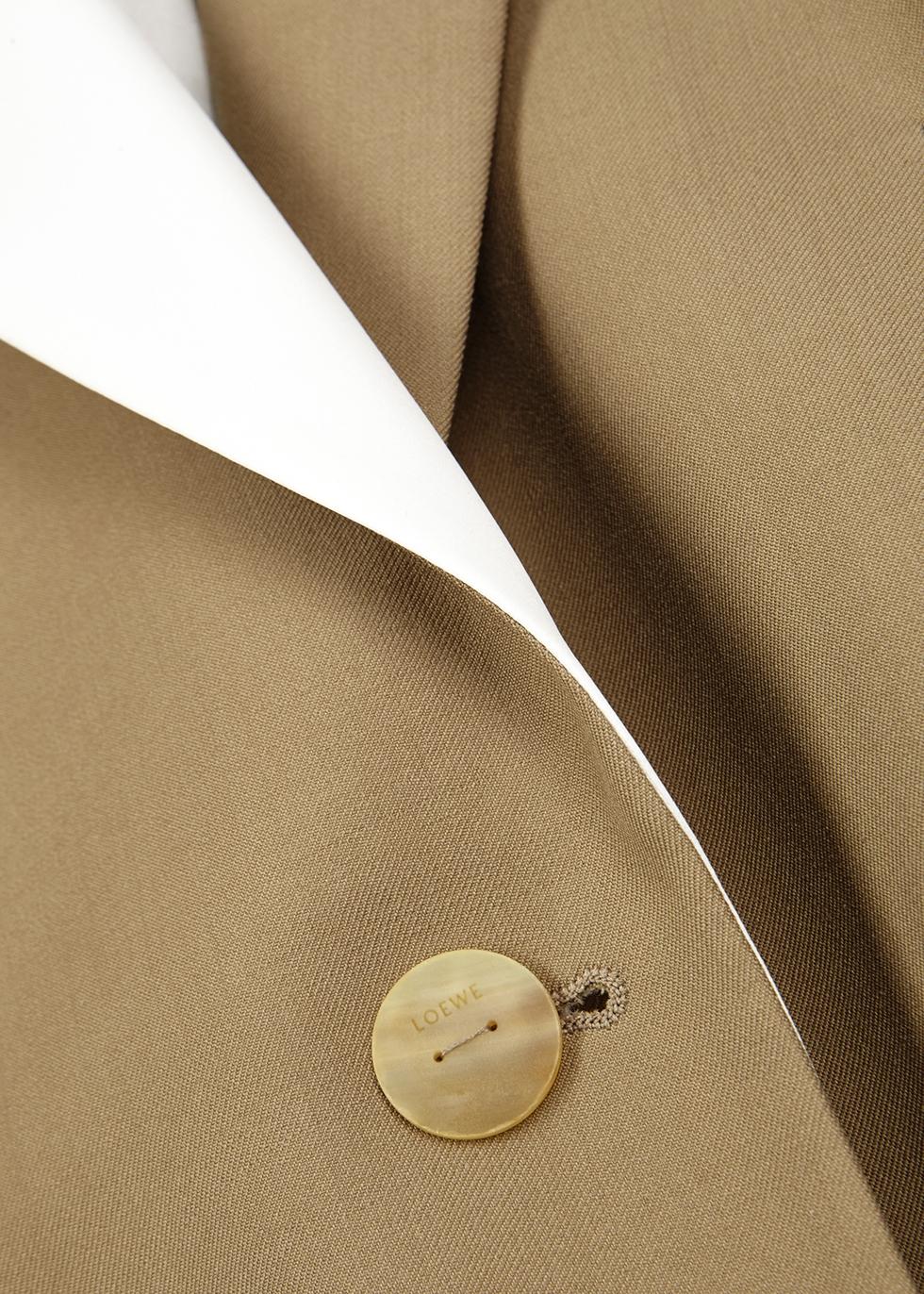 Taupe satin-trimmed wool blazer - Loewe
