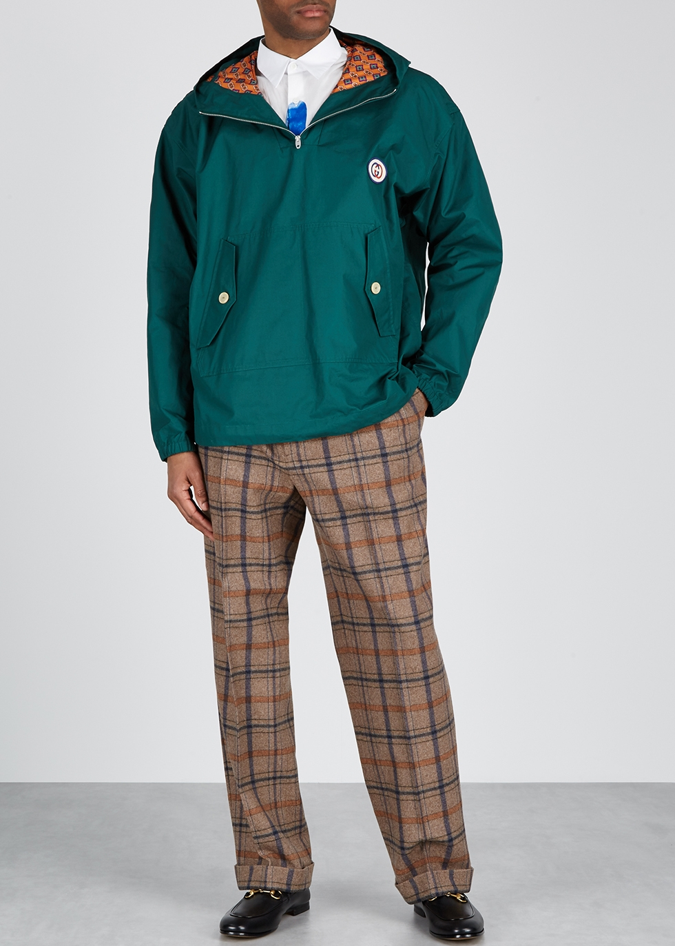 Checked wool-blend trousers - Gucci