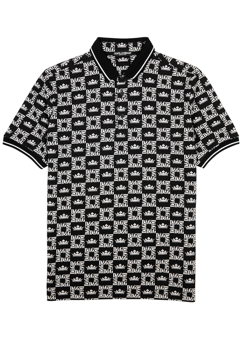 Black logo-print cotton polo shirt - Dolce & Gabbana