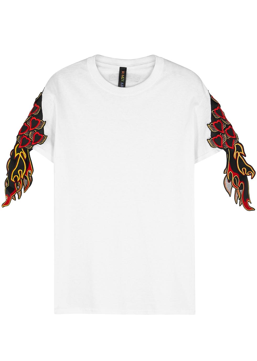 Ragyard sacred heart and flame appliqué cotton t shirt