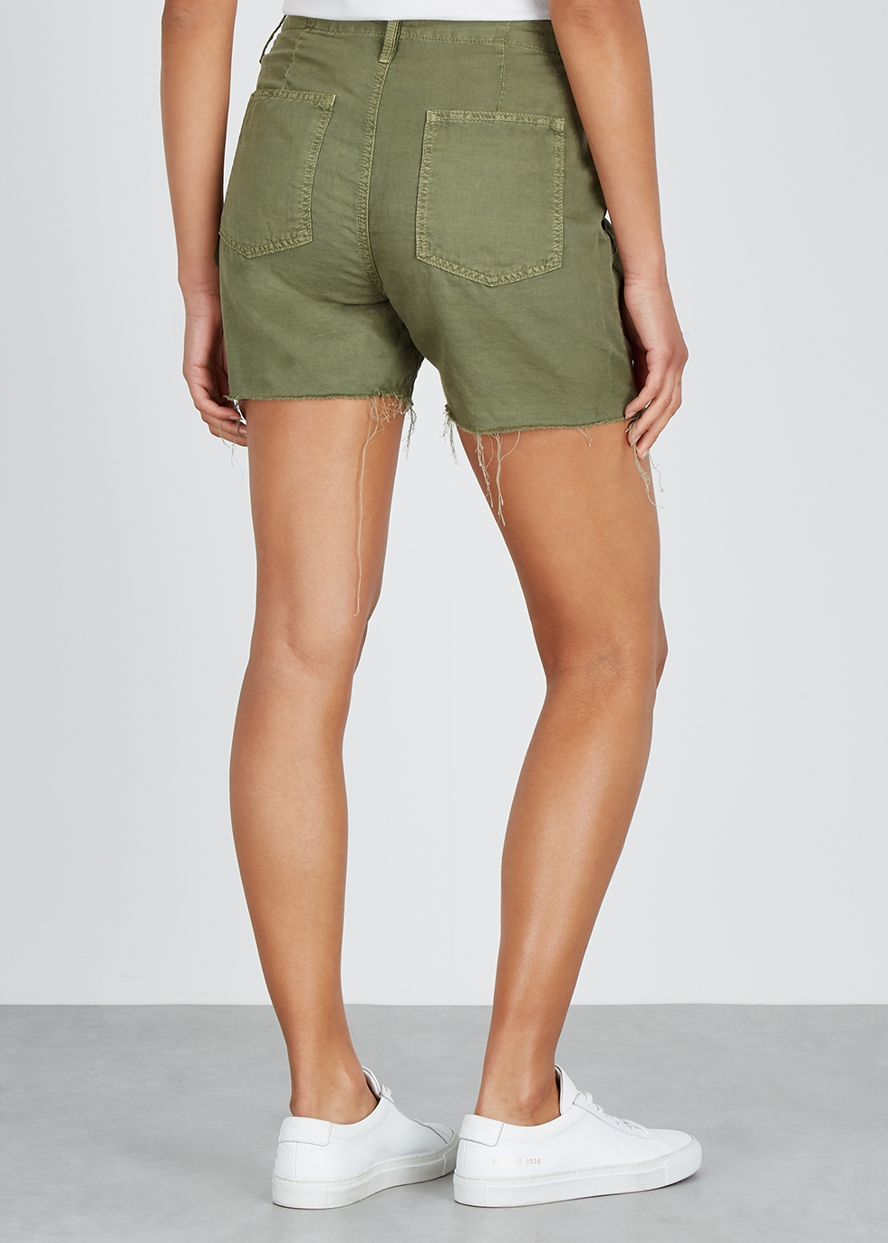The Shaker green cotton-blend shorts - Mother