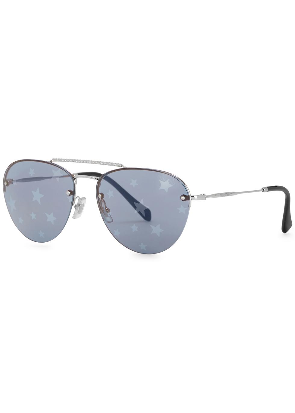 Star-print aviator-style sunglasses - Miu Miu