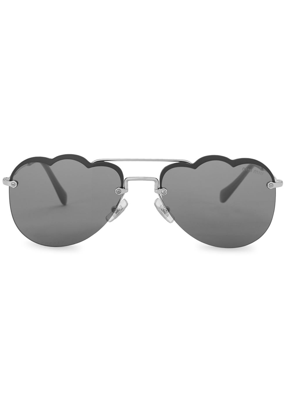 Grey scalloped aviator-style sunglasses - Miu Miu