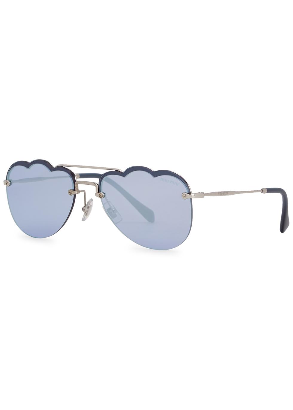 Blue scalloped aviator-style sunglasses - Miu Miu
