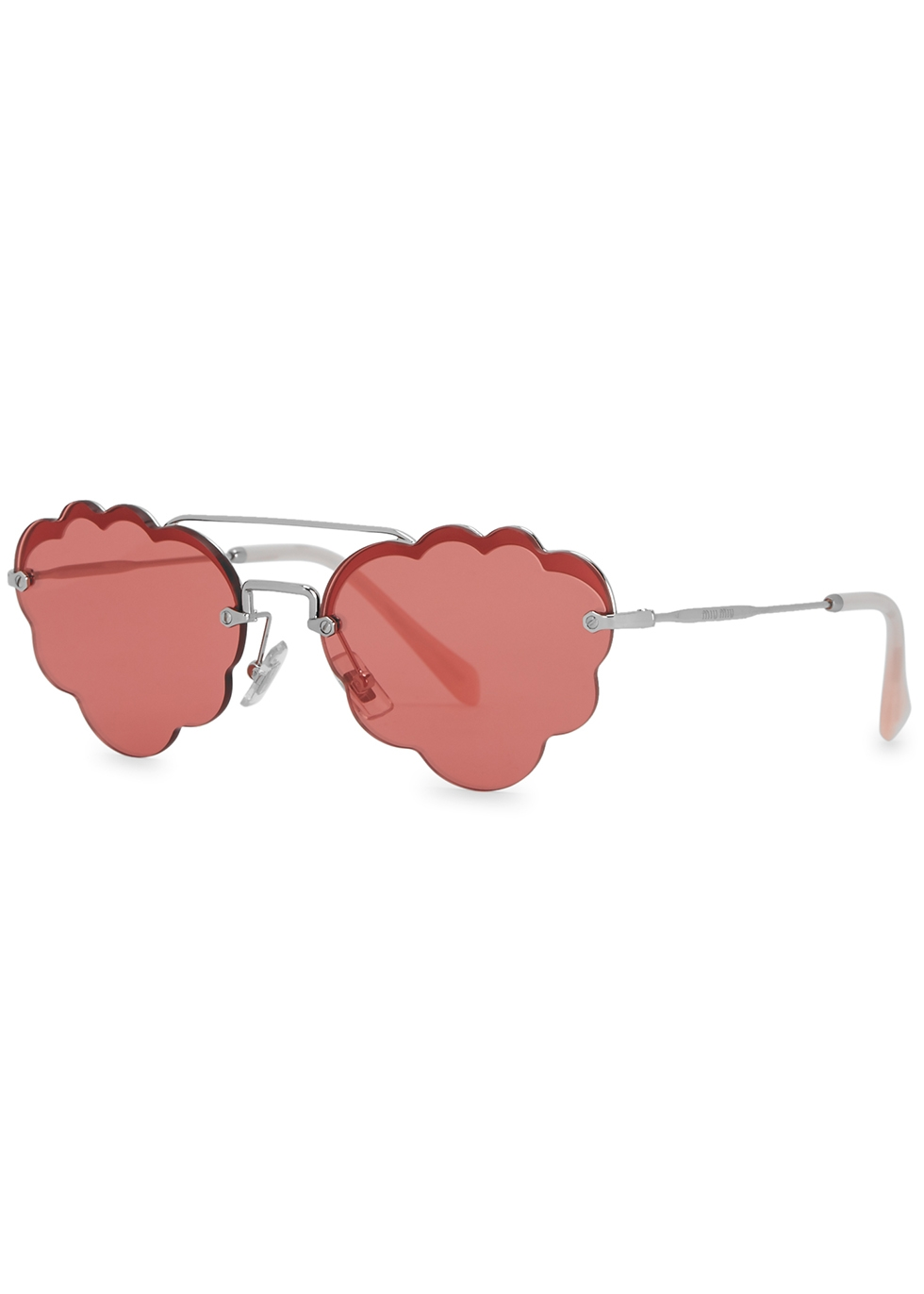 Pink scalloped aviator-style sunglasses - Miu Miu