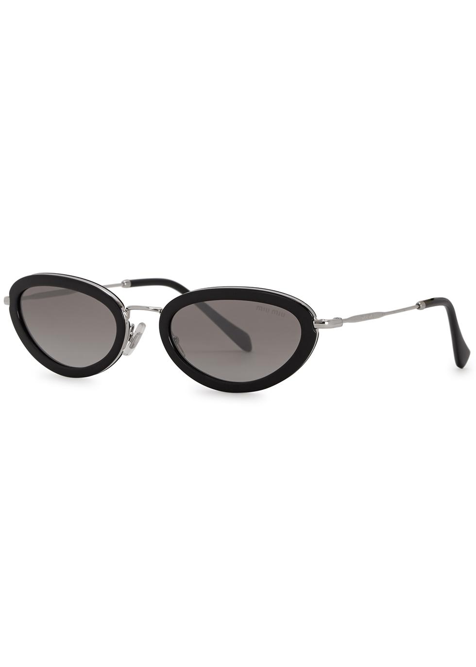 Mirrored oval-frame sunglasses - Miu Miu