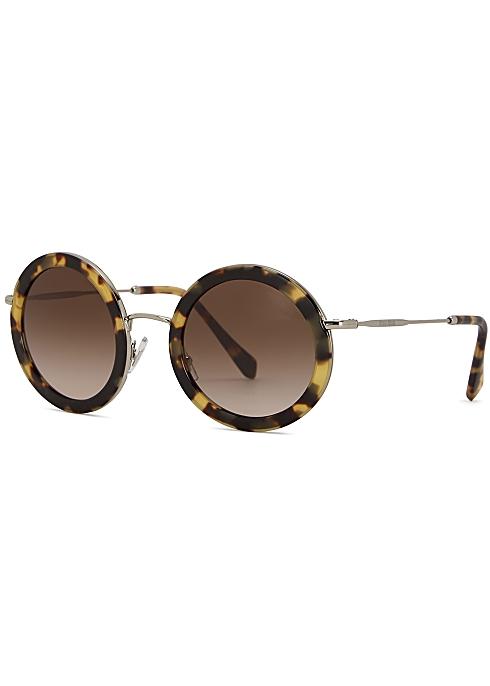 4aab6459dc4c Miu Miu Tortoiseshell round-frame sunglasses - Harvey Nichols