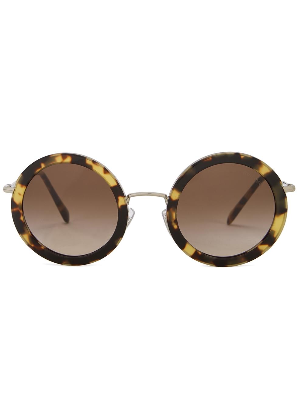 Tortoiseshell round-frame sunglasses - Miu Miu