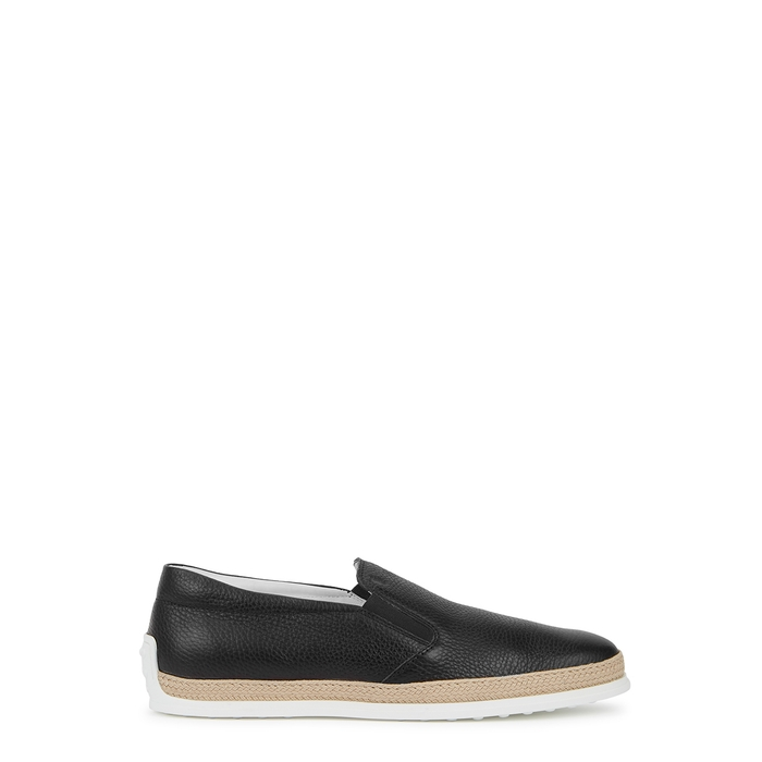 Tod's Shoes BLACK GRAINED LEATHER SKATE SHOES