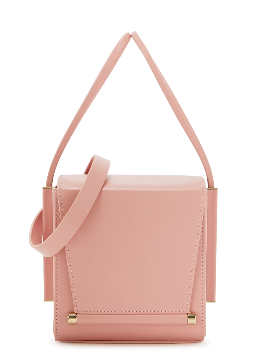 af944a533bf Light pink leather box cross-body bag ...