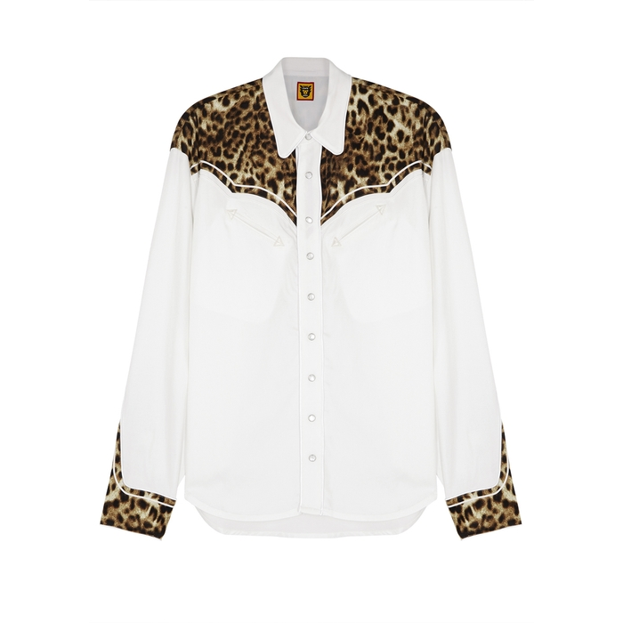 Human Made T-shirts White leopard-print satin-twill shirt
