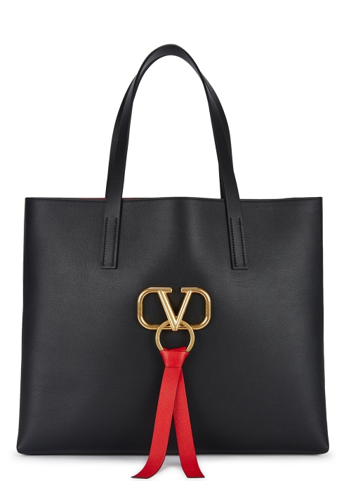 7a31569511788 Valentino Garavani VRing black leather tote - Harvey Nichols