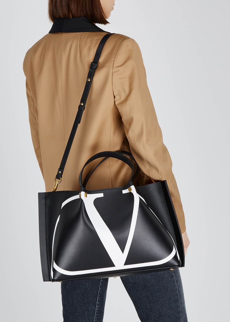 Escape black leather logo tote - Valentino Garavani