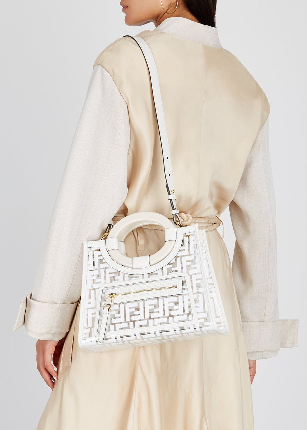 Runaway off-white PVC top handle bag - Fendi