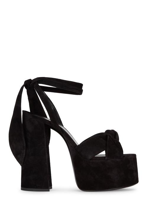 091993ffc04 Saint Laurent Paige 145 black suede platform sandals - Harvey Nichols