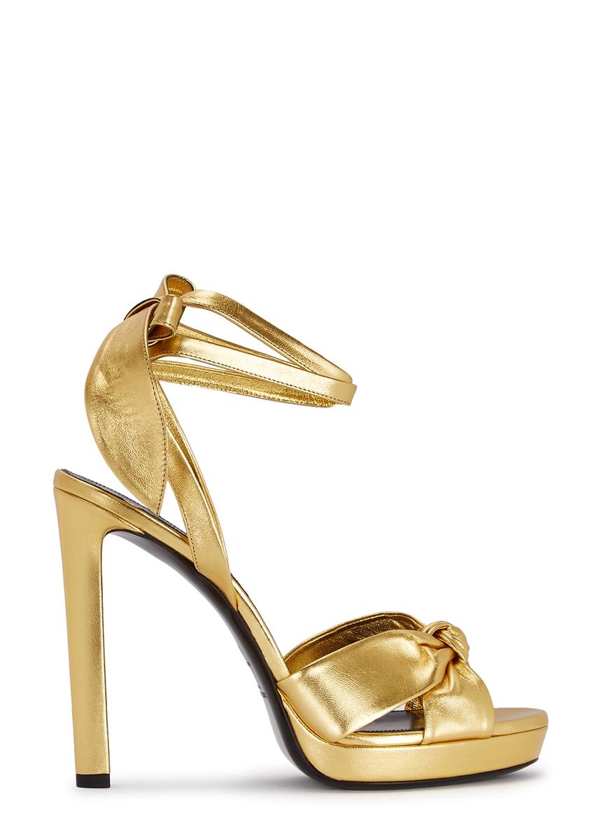 e2ebcf081 Saint Laurent. Cassandra black patent leather sandals.  660.00 · Hall 140  gold leather sandals ...
