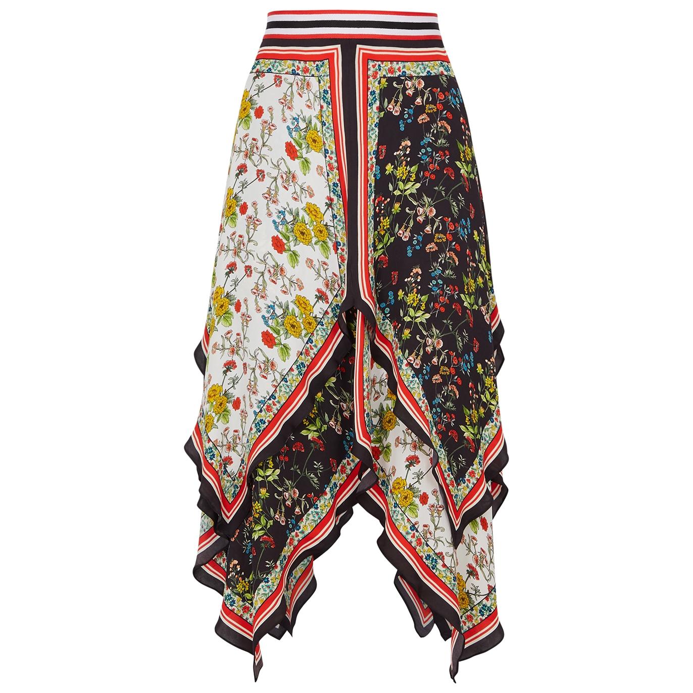 373036a6344 Alice + Olivia Maura printed asymmetric satin skirt - Harvey Nichols