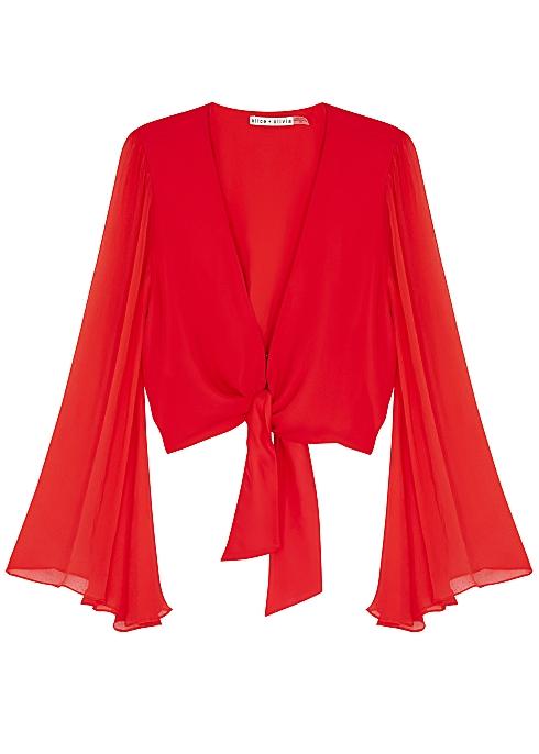 09d42c6afd5761 Alice + Olivia Prija red cropped silk blouse - Harvey Nichols