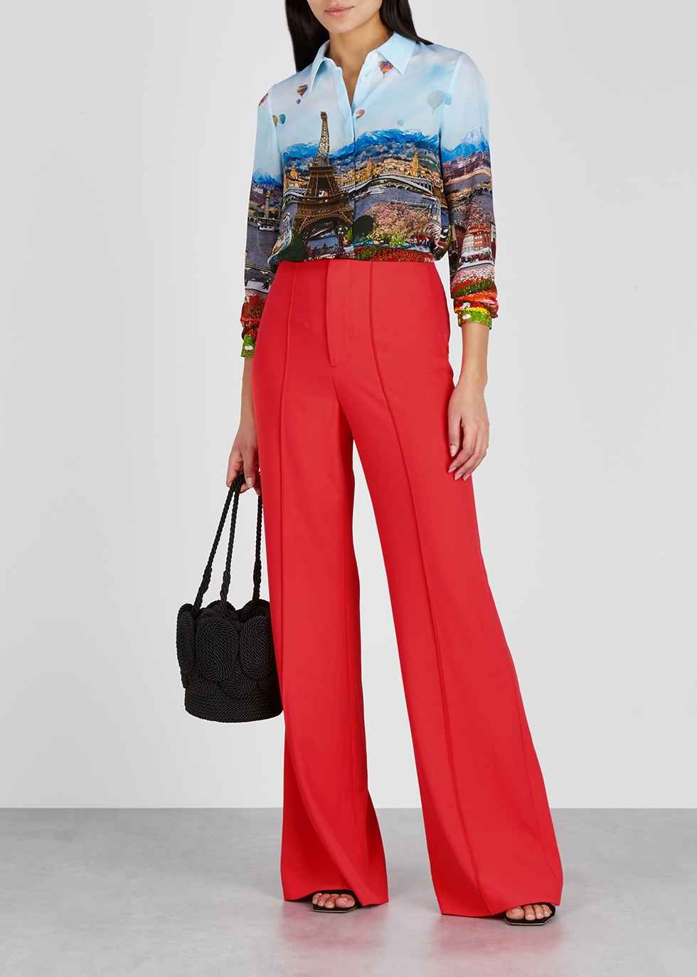 Dylan coral wide-leg trousers - Alice + Olivia