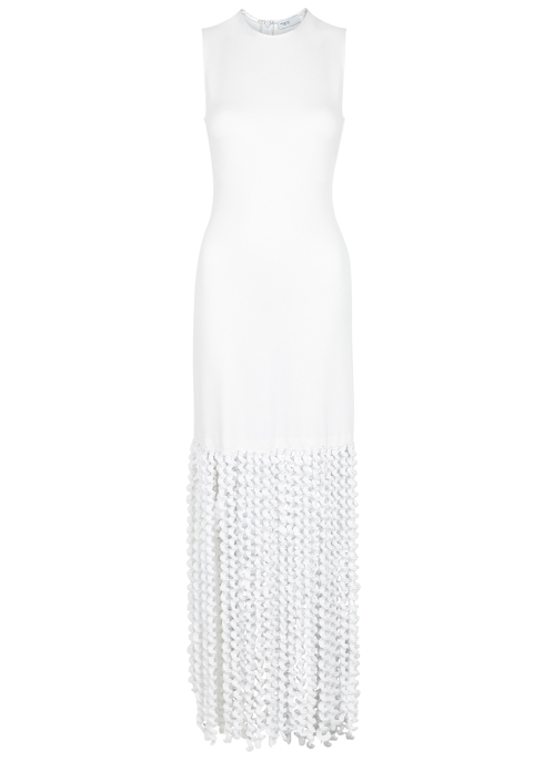Rosetta Getty White fringed stretch-knit dress - Harvey Nichols 73e490e00
