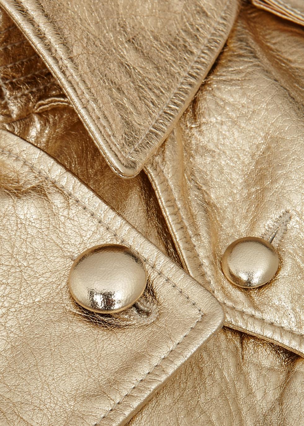 Gold leather trench coat - Saint Laurent