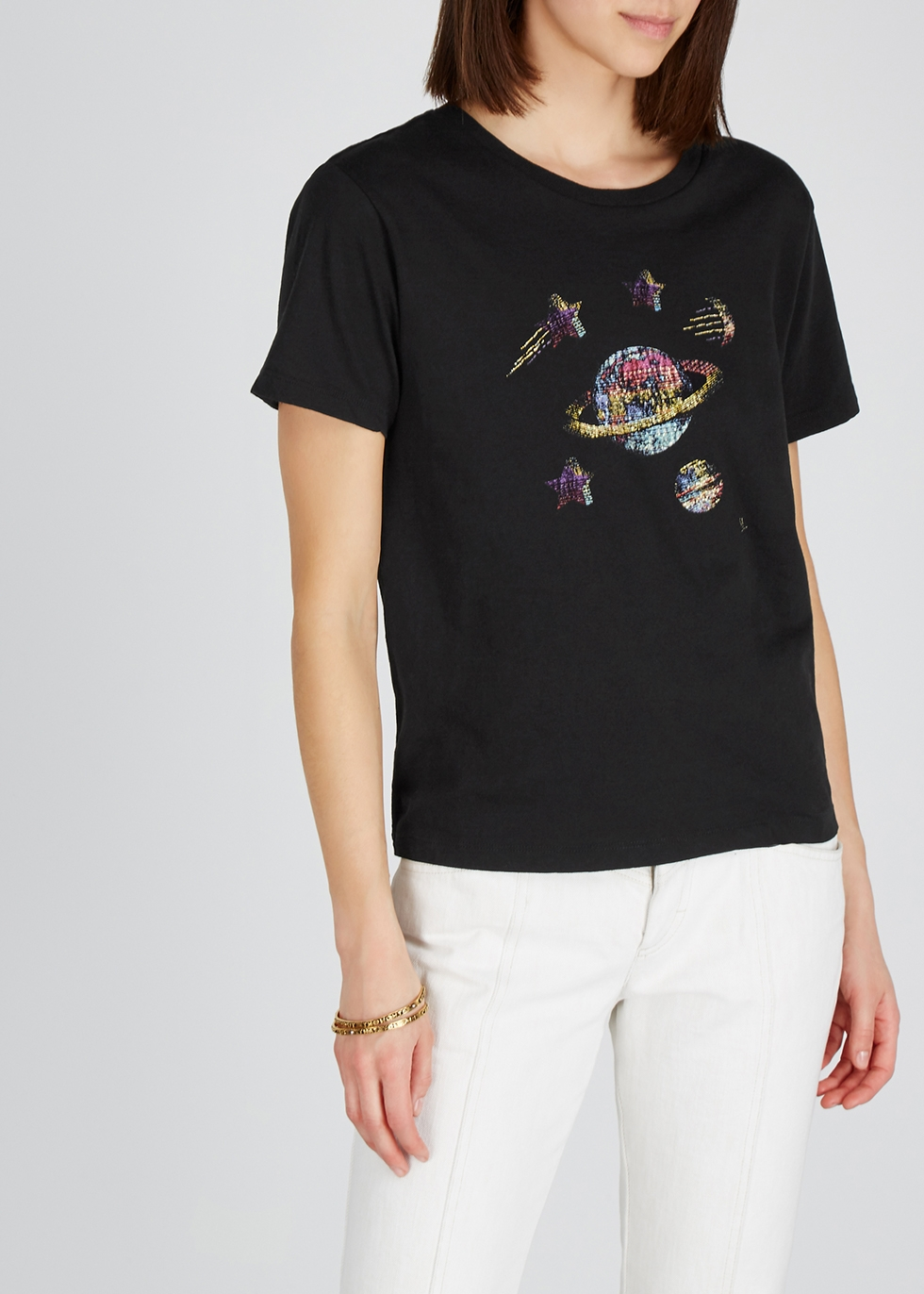 Black printed cotton T-shirt - Saint Laurent