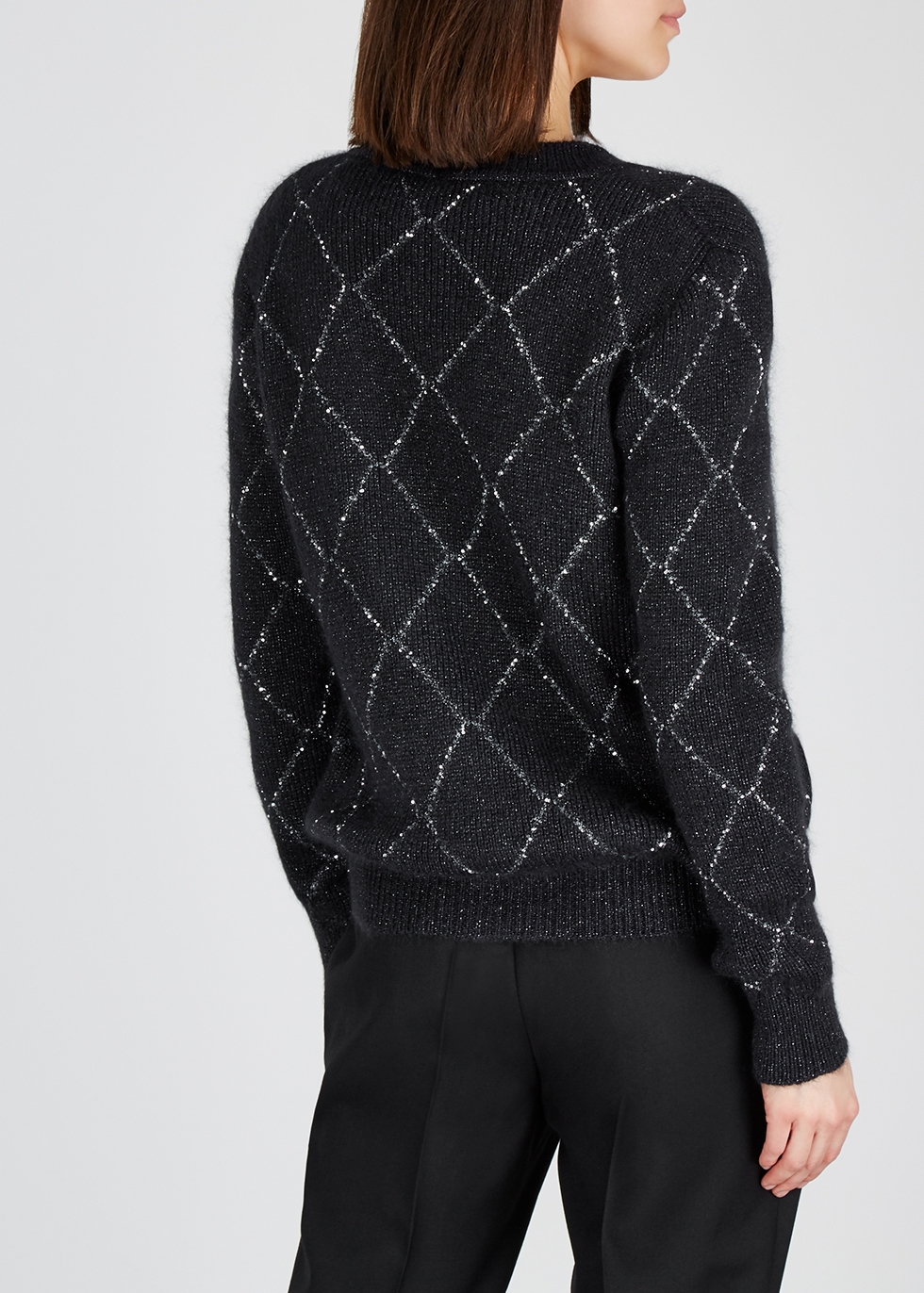 Charcoal embellished mohair-blend cardigan - Saint Laurent