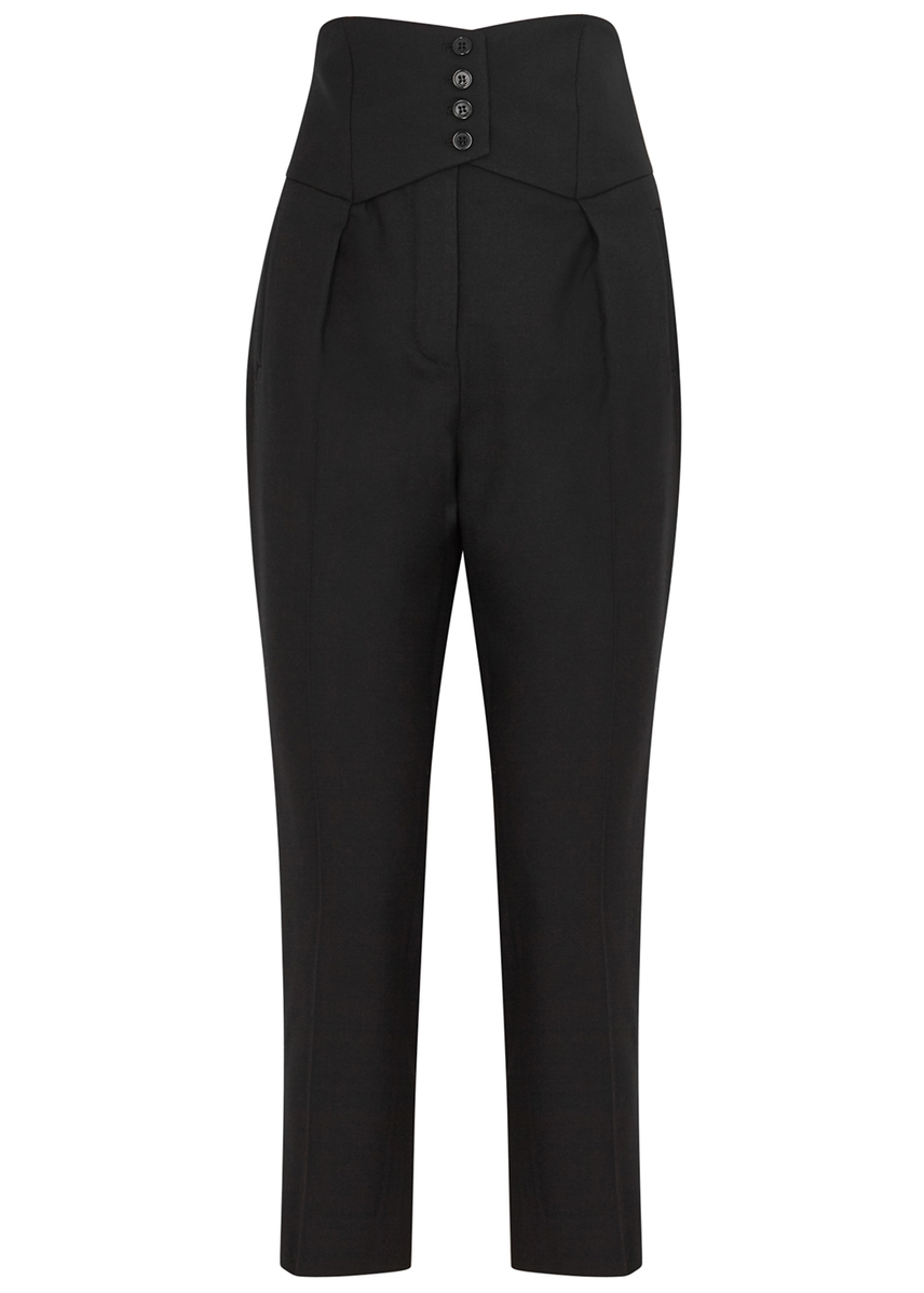 a262afe235d8 Black slim-leg wool trousers ...
