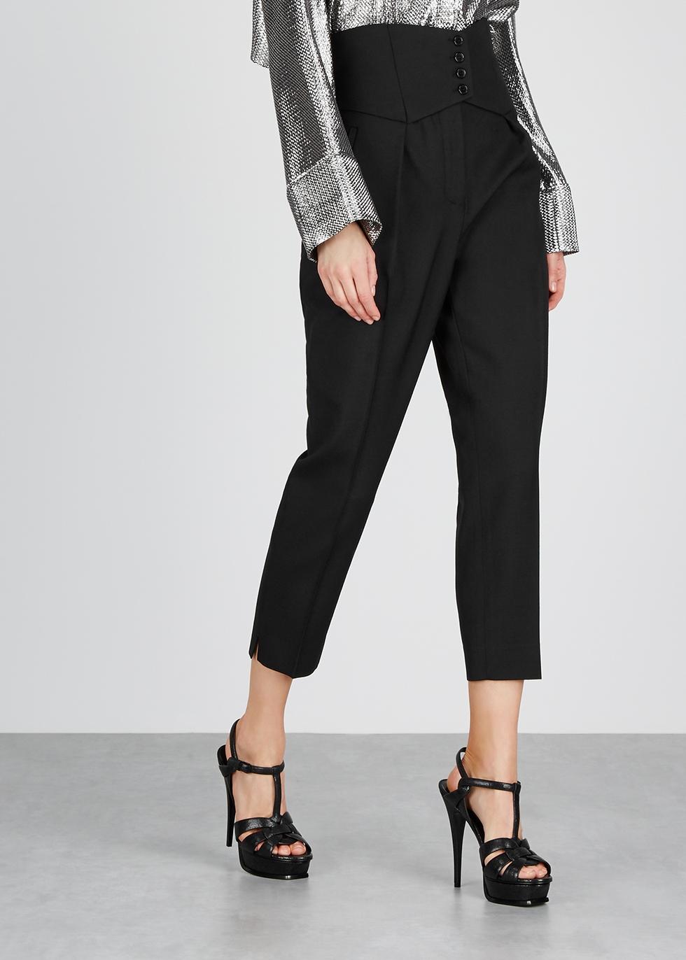 Black slim-leg wool trousers - Saint Laurent