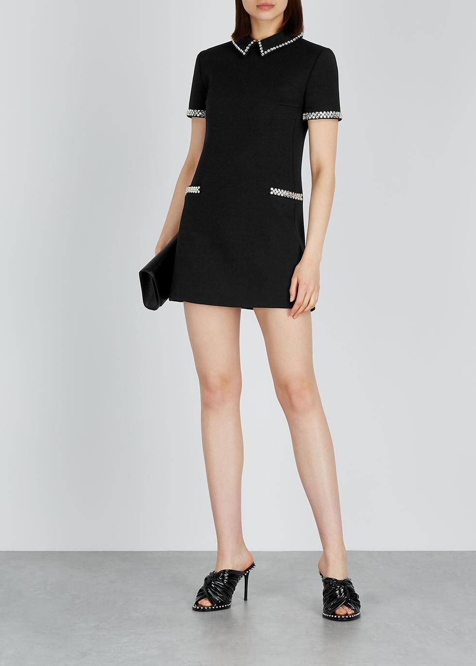 Black crystal-embellished wool mini dress - Saint Laurent