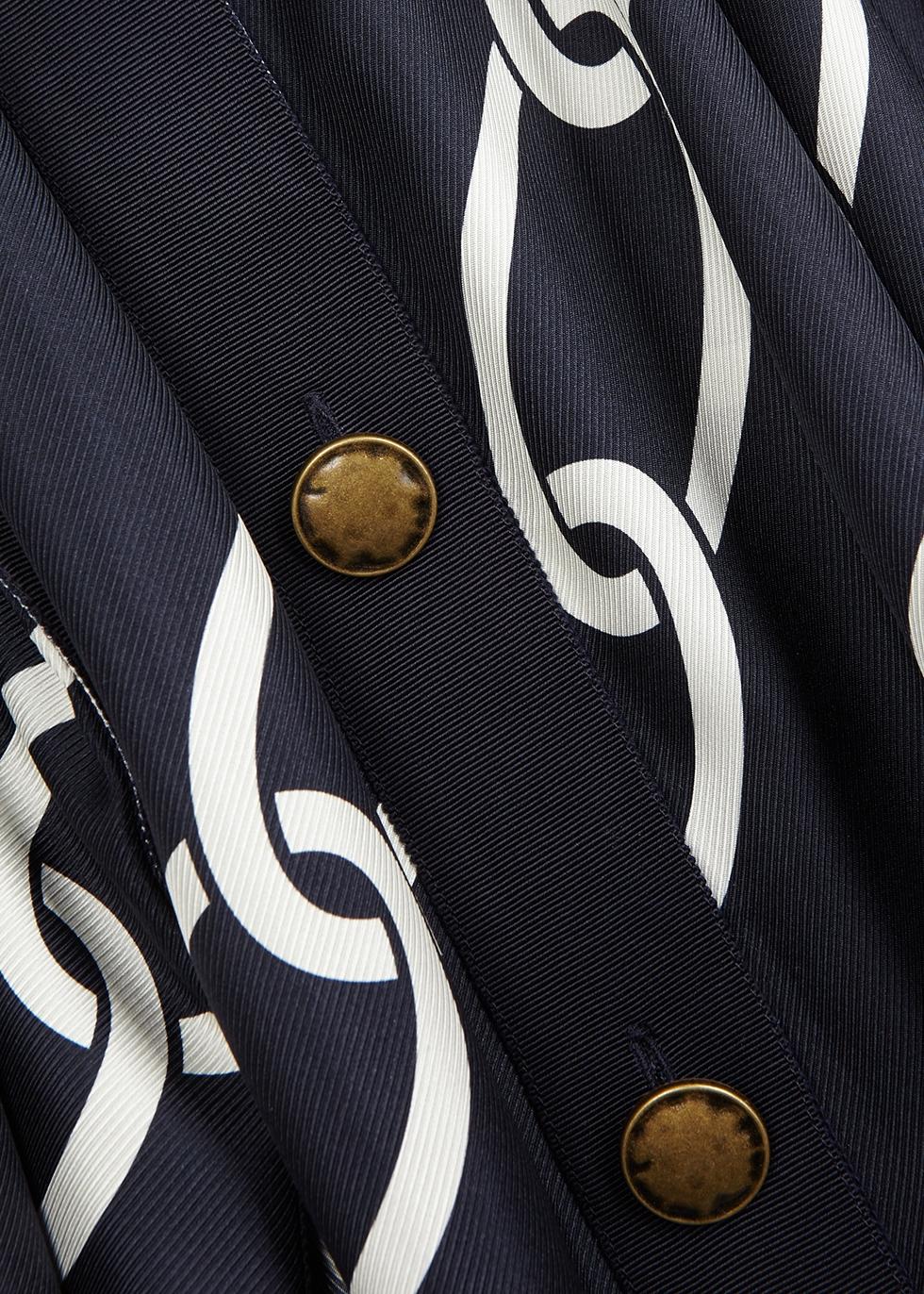 Navy chain-print silk maxi dress - MONSE