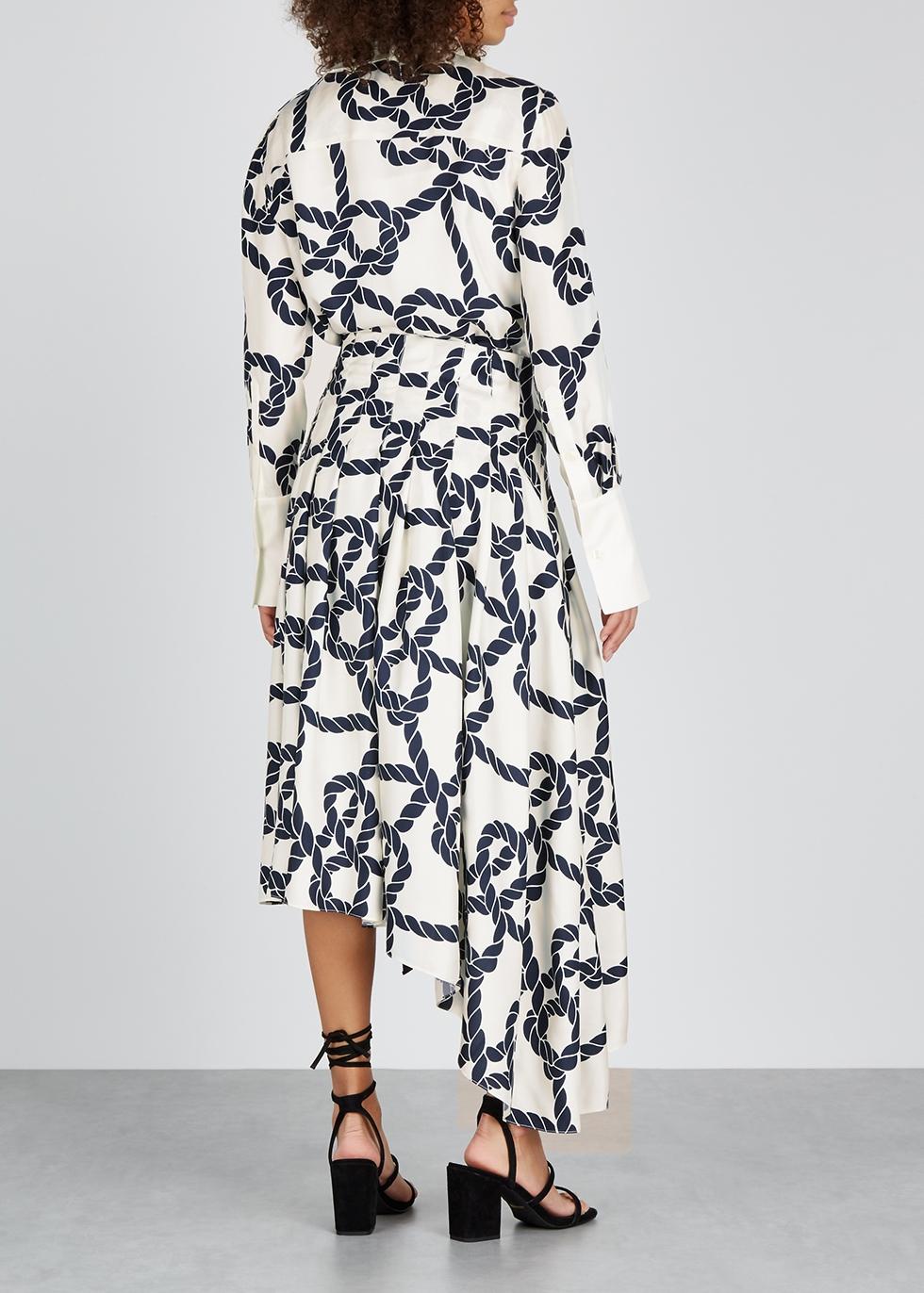 Ivory printed silk-twill dress - MONSE