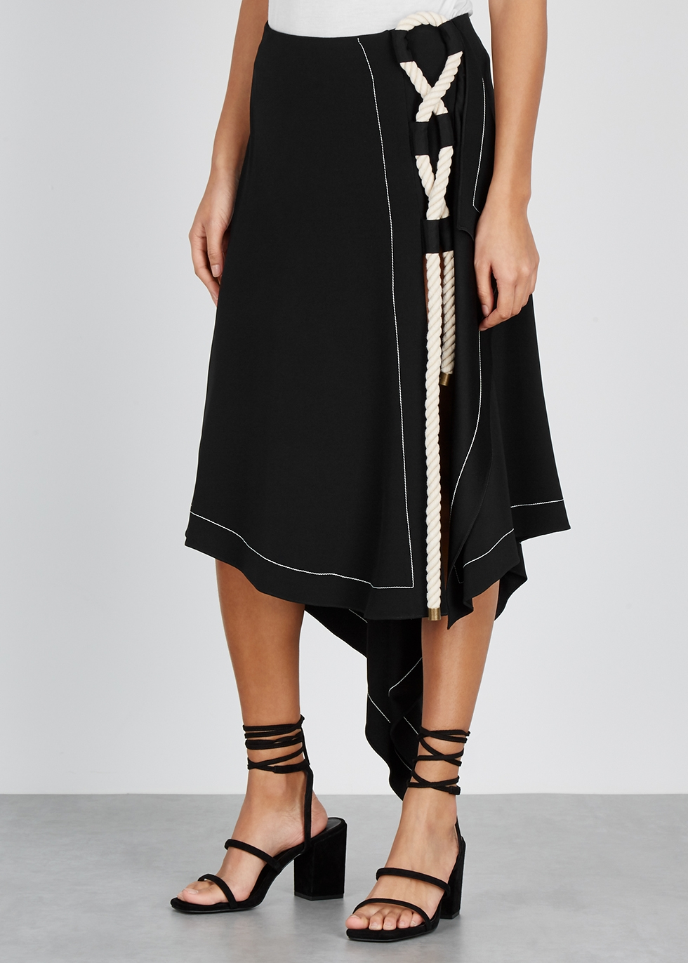 Black rope-embellished asymmetric skirt - MONSE