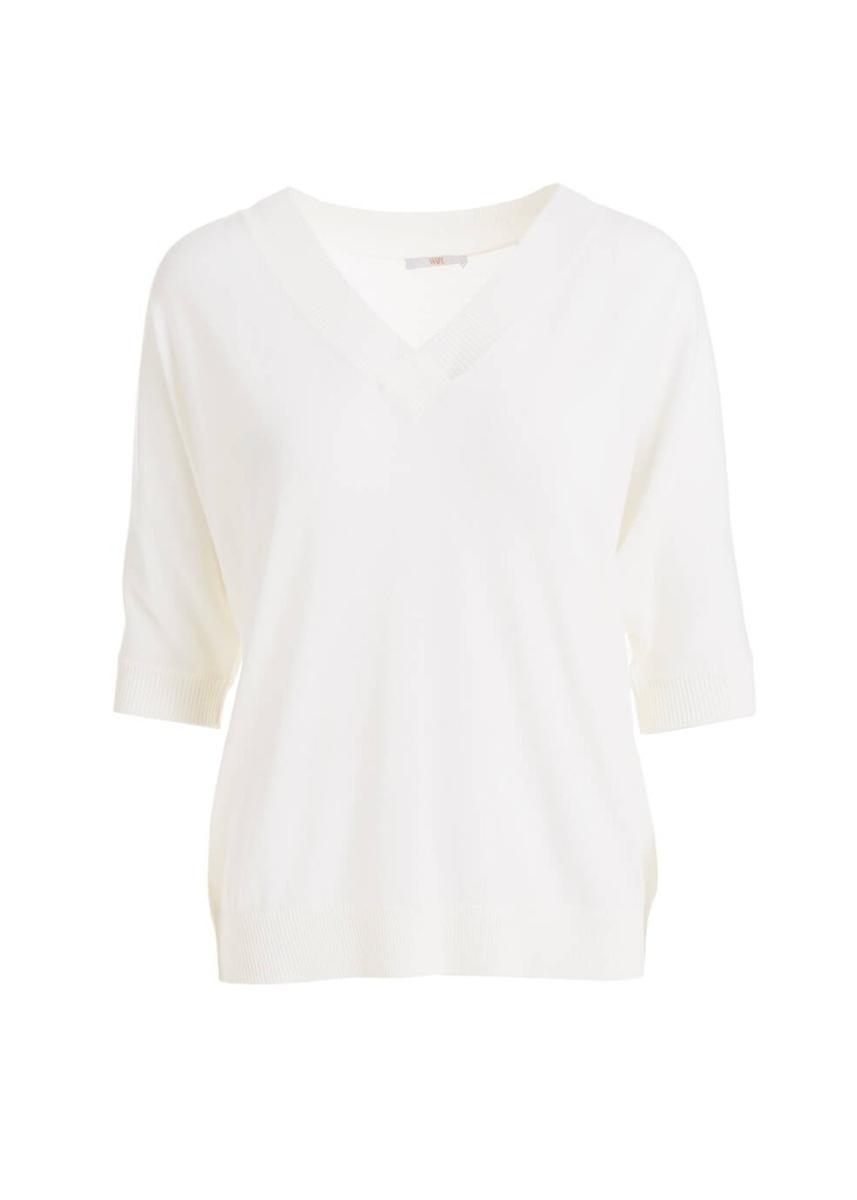 c22f909b8bf Pensamianto white merino wool v-neck top ...