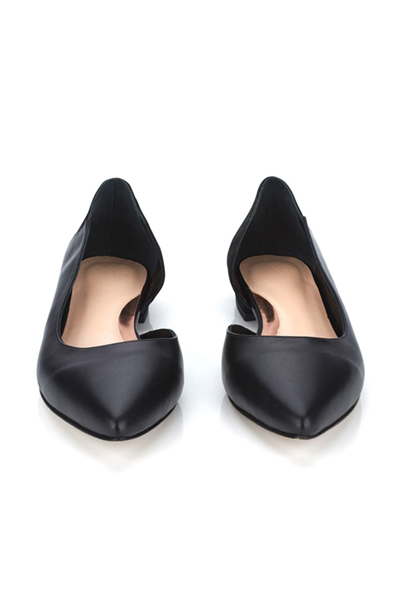 Geo black leather flats - WtR