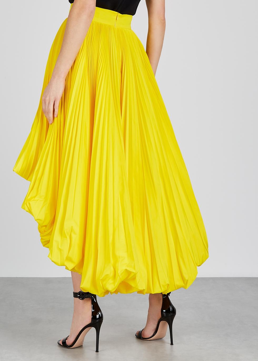 Yellow pleated faille midi skirt - Alexandre Vauthier