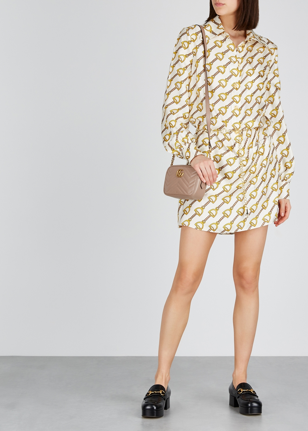 Printed silk mini shirt dress - Gucci